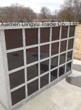48 Niches Chinese Polished Grey Granite Columbarium with Black Door