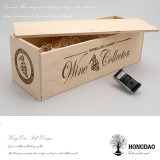 Hongdao Luxury Natural Color Sliding Lid Luxury Wooden Wine Gift Box Wholesale Price _E