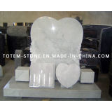 American White Marble Carved Stone Heart Tombstone with Flower