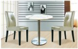 Modern Design Marble Round Dining Table with Ss Plinth and Wood Chair Set