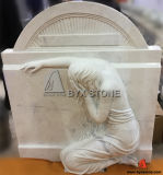 New Weeping Angel Headstone Upright Monument with White Marble