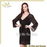 Wholesale Robe Sexy Long Sleeve Black See Through Sexy Women′s Sleepwear