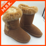 Brown Superior Half-Calf Handmade with Belt Leather Ankle Women Snow Boot