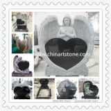 Black/White Granite and Marble Heart Monument Headstone Gravestone for Funeral