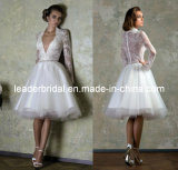Sheer Lace Wedding Dress A-Line Deep V-Neckline Full Long Sleeves Lace Tulle Short Beach Wedding Dresses H147237