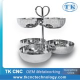 Stainless Steel Triple Tray (2-Tier) with 6 Bowls & Heart Shape Handle as Tableware / Hotelware by Stamping, Pressing, Laser Welding