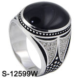 925 Sterling Silver Mirco Setting Men Ring with Agate (S-12599W)