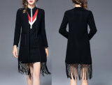 Collarless Ladies Jacket with Autumn Tassels Slim Jacket