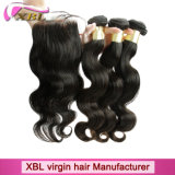 Virgin Hair Weave Bundles Peruvian Hair Closure
