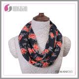 Elegant Rose Printing Ladies Flannel Infinity Scarf (SNF213)