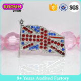 Custom High Quality Rhinestone Flag Brooch