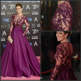 Satin Party Celebrity Formal Gown Sheer Bodice Prom Dresses Y1027