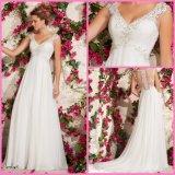 Chiffon Bridal Wedding Gowns Empire Waist V-Neck Beads Beach Wedding Dresses Vg3792