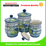 White Round Ceramic Cookie Canister Container Cookie Jar
