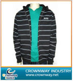 Men Full Zipped Hoody Sweater with Yarn Dyed Stripes