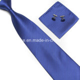 Fashion Striped Mens Microfiber Tie Hanky Cufflinks Set Wholesale in China