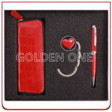 Lady′s Gift Leather Key Chain and Purse Hanger Gift Set