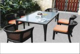PE Rattan Patio Square Table and Chair Set Garden Furniture