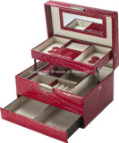 Locking Leather Red Jewelry Box/Case with Travel Inserts