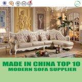 New Fashion Leather Corner Sofa with Handicraft Wooden Decoration