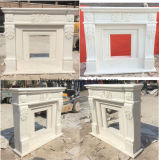 Carved White Marble Fireplace Mantel for Indoor Decoration