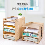 DIY 6 Layers Wooden Office Stationery Organizer