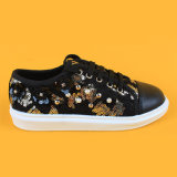 Girls Black Sequin Lace Kids Sneakers Running Kd Shoes with Pearl