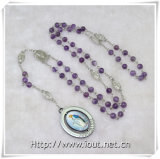 Purple Crystal Beads Rosary, Photograph Rotatable Pendant Rosaries (IO-cr367)