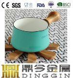 Enamel Cast Iron Milk Sauce Pot with Long Soft Wooden Handle
