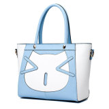 Fashion Girl′s PU Handbags with Cat Pattern (HB001)