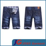 Plaid Rolled Men′s Sknee Monkey Washshort Denim Jeans (JC3280)