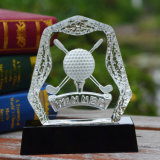 Crystal Golf Iceberg Trophy with Black Base