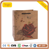 Red Roses Beautiful Butterfly Kraft Coametics Shopping Gift Paper Bag