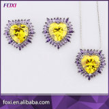 Heart Shaped Crystal Necklace Set with Pave Setting