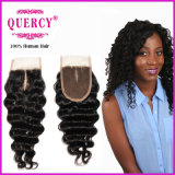 High Quality and Hot Sale Lace Closure Deep Wave 9A Peruvian Virgin Hair with Baby Hair Human Hair (CL-85D)