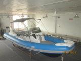 Liya 7.5m Fiberglass Passenger River Rafting Rib Boat with Trailer