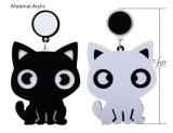 Simple Lovely Small Black White Cat Asymmetric Earrings