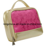 Pink with Gold PU Trimming Cosmetic Bag (KCC100)