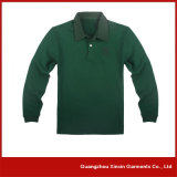 Wholesales Cheap Green Cotton Unisex Long Sleeve Polo Shirts (P49)