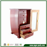 Red Finish Cigar Humidor Cabinet with Safe Lock