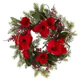 24in. Large Amaryllis Wreath with Silk Red Big Flowers Non-Lit (MY310.245.00)