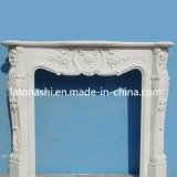 OEM Design Home Decoration White Marble Stone Fireplace with Mantel