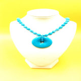 Optimized Processing Turquoise Bead Necklace with Donuts Pendant