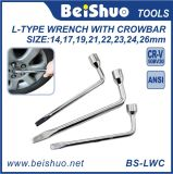 L Type Slotted End Socket Lug Wrench with Crowbar
