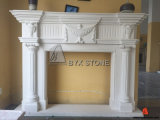 Moca Cream Marble Fireplace with Carving for Indoor Decoration