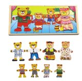 Wooden Bear Family Puzzles in a Box