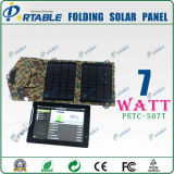 7W Folding 5V Monocrystalline Solar Cell for Mobile Phone, Dual Output Foldable Solar Panel Charger for Mobile, Table PC Charging (PETC-S07T)