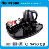Black Color Double Shell Kettle with Tray for Hotel Use