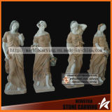 Four Season Large Garden Stone Women Statue with Colorful Clothes
