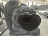 Carving Angel with Heart Shape Black Granite Tombstone